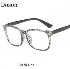 Newest Fashion Vintage Glasses Women Men Ladies Clear Lens Optical Eyeglasses Frames Retro Eyewear Black Dot one size