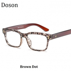 Newest Square Vintage Glasses Women Men Ladies Fashion Retro Optical Eyeglasses Frame Myopic Eyewear Brown Dot one size
