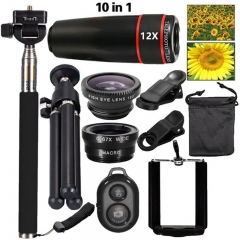 Universal Mobile 10 In1 Lens Phone Camera Cell Clip Optical Telescope Kit 12X Zoom Black