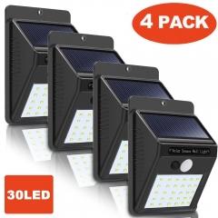 4 PCS 30 LED Solar Powered Wall Light Motion Sensor Outdoor Security Yard Wall Waterproof Lamps 1PCS 96*124*48mm 0.2W/LED