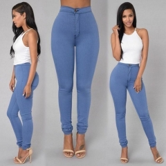 High waist elastic pencil pants tight candy candy jeans women's fashion jeans light blue s
