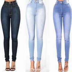 European and American fashion ladies' elastic cowboy pants sexy women's casual pants light blue s
