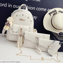 New fashion woman backpack schoolbag white one size