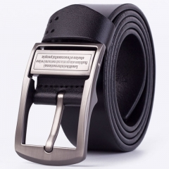 Men's leather pin belt men's fashion casual pure leather Jeans Belt black one size