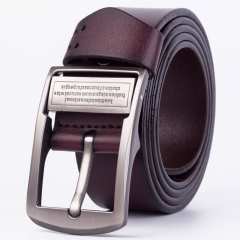 Men's leather pin belt men's fashion casual pure leather Jeans Belt coffee color one size