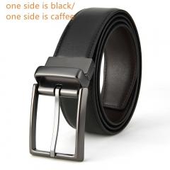 Belt men's leather grind rotary pin buckle belt men's brand double faced leather belt Suture belt (black + caffeine) 115cm