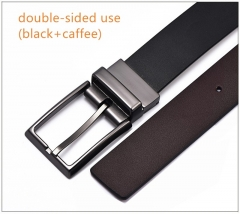 Belt men's leather grind rotary pin buckle belt men's brand double faced leather belt Plane belt (black + caffeine) 120cm