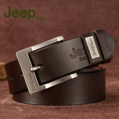 Jeep men's pin belt young pure leather jeans belts business belts business belts etc coffee color one size