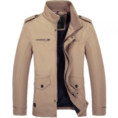 European and American fashion men's jacket 3 color medium length casual coat Khaki M