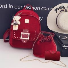 New 3 piece suit gold velvet women's Korean version shoulder bag student bag red one size