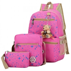 New four piece canvas print large capacity female student shoulder bag schoolbag 4 colors pink one size