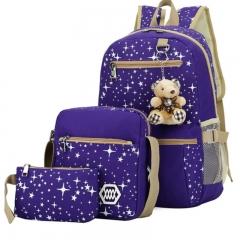 New four piece canvas print large capacity female student shoulder bag schoolbag 4 colors light blue one size