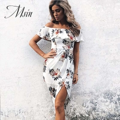 MSIN 2018 New Fashion Women Polyester Print Ruffles High waist Sleeveless Slash neck Sexy Dress m white&flower