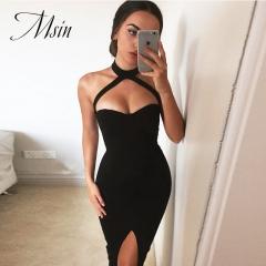 MSIN 2018 New Fashion Women Polyester Pure Lace Sleeveless High waist Pencil Sexy Club Dress s black