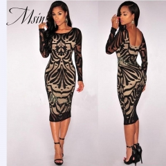 MSIN 2018 New Fashion Women Polyester Lace Print Slim O-Neck  Long Sleeve Sexy Party Dress xl black