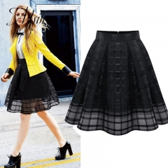 MSIN 2018 New Fashion Women Polyester Gauze High waist Tartan Casual Above knee Pleated Skirts black m