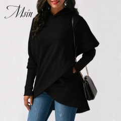 MSIN 2018 New Fashion Women Cotton Casual Pocket Pullovers Pure Patchwork Loose Asymmetrical Sweater black l