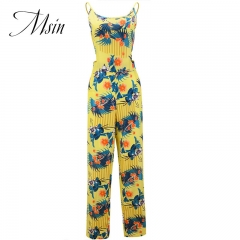MSIN 2018 New Fashion Women Cotton Brace Lace Print Off the shoulder Sleeveless Sexy Jumpsuits yellow s