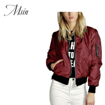 MSIN 2018 New Fashion Women Cotton Acrylic Casual Sportive Zipper Pure Patchwork Loose Coats wine red l