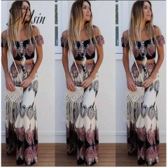 MSIN 2018 New Fashion Women Cotton  Print  Strapless Short top and Long skirt  Sexy Separates flower xl