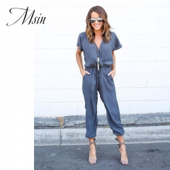 MSIN 2018 New Fashion Women Cotton Lace Pure Ankle-Length V-Neck  Sexy Casual Loose Jumpsuit blue l