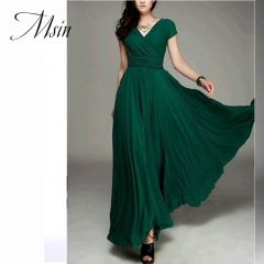 MSIN 2018 New Fashion Women Cotton Acylic Girdle Long Dress V-Neck High waist  Bohemian Pure Dress m light green