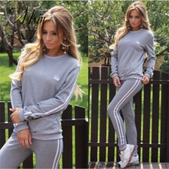 MSIN 2018 New Fashion Women Cotton Sportive Stripe Elastic Pure O-Neck Long top and Pant Separates gray s