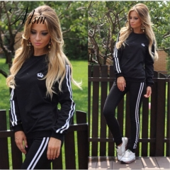 MSIN 2018 New Fashion Women Cotton Sportive Stripe Elastic Pure O-Neck Long top and Pant Separates black s