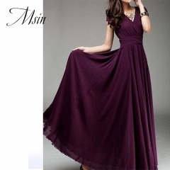 MSIN 2018 New Fashion Women Cotton Acylic Girdle Long Dress V-Neck High waist  Bohemian Pure Dress s dark purple