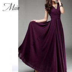MSIN 2018 New Fashion Women Cotton Acylic Girdle Long Dress V-Neck High waist  Bohemian Pure Dress s dark purple