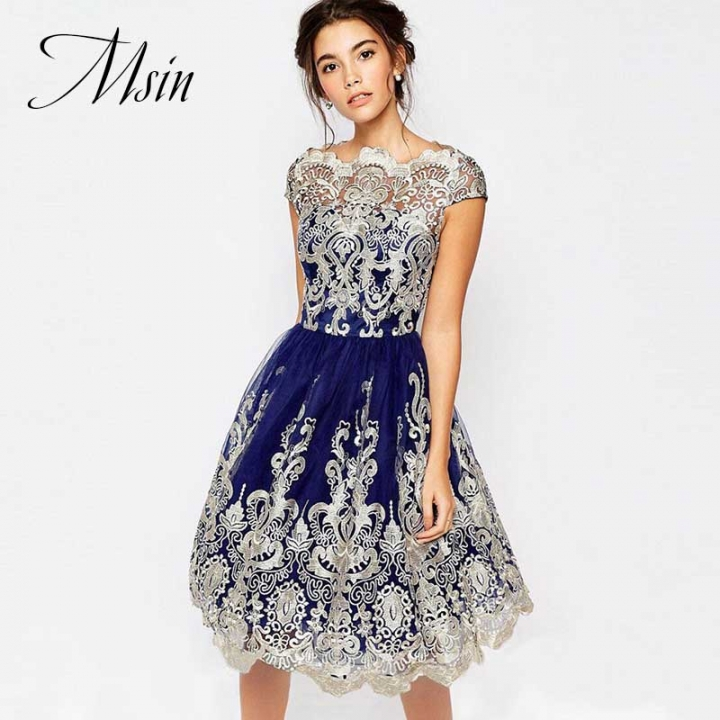 MSIN 2018 New Fashion Women Spandex Nylon Lace Gauze Embroidered Pure O-Neck Sweet party Dresses s dark blue