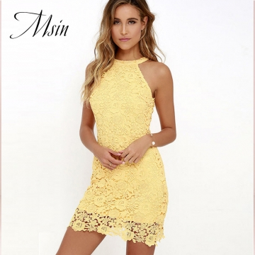 MSIN 2018 New Fashion Women Cotton Pure  Strapless  O-Neck Sleeveless Above Knee Length Sexy Dresses s yellow