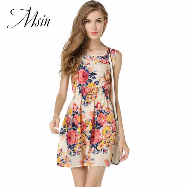 MSIN 2018 New hot sell Fashion Women Chiffon Print O-Neck Sleeveless Expansion party  Dresses xxl whit&pink flower