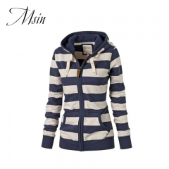 MSIN 2018 New Fashion Women Cotton Casual Stripe Zipper Long Clothing Hooded  Large Size Sweater blue l