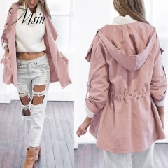 MSIN 2018 New Fashion Women Cotton  Long Clothing and Sleeve Hooded Pure  Casual Coats pink m