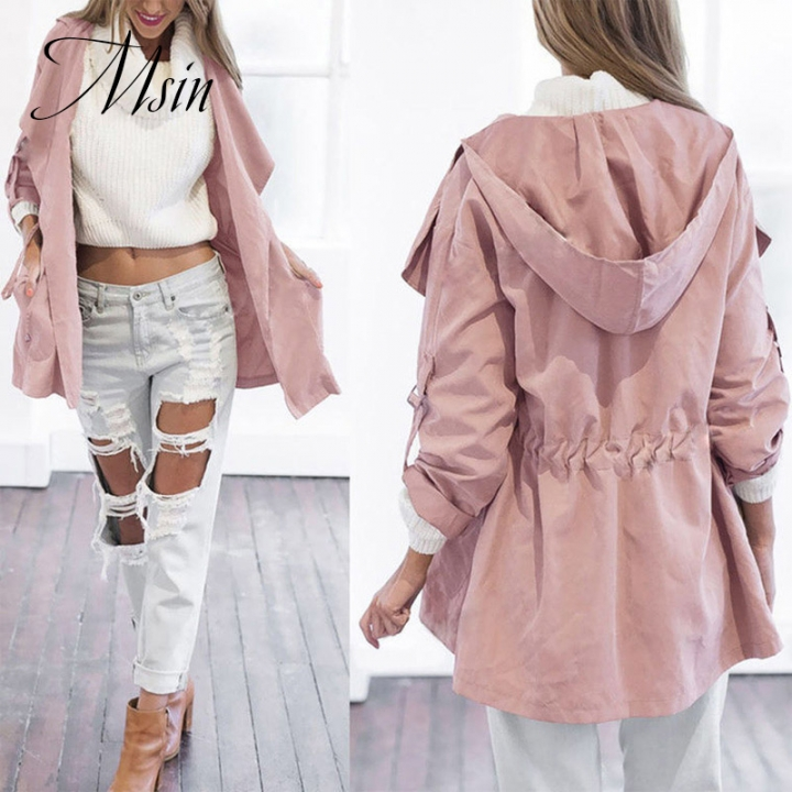 MSIN Winter Clearance Sale Fashion Women Cotton  Long Clothing and Sleeve Hooded Pure  Casual Coats pink m