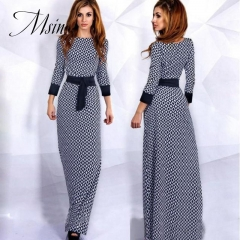 MSIN 2018 New Fashion Women Tartan  Pathwork Print  Long Length Medium-length Sleeve Custom Dresses xl as picture