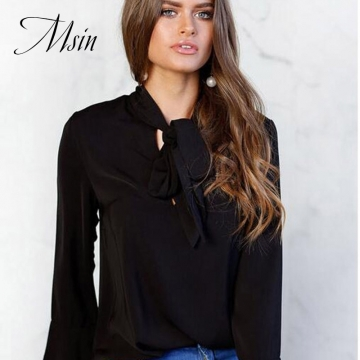 MSIN 2018 New Fashion Women Cotton Acrylic Chiffon Button Lace Pure V-Neck Office Tops black s