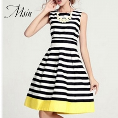 MSIN 2018 New Fashion Women  Braces Patchwork O-Neck Above knee Sleeveless Tiered Dresses m stripe