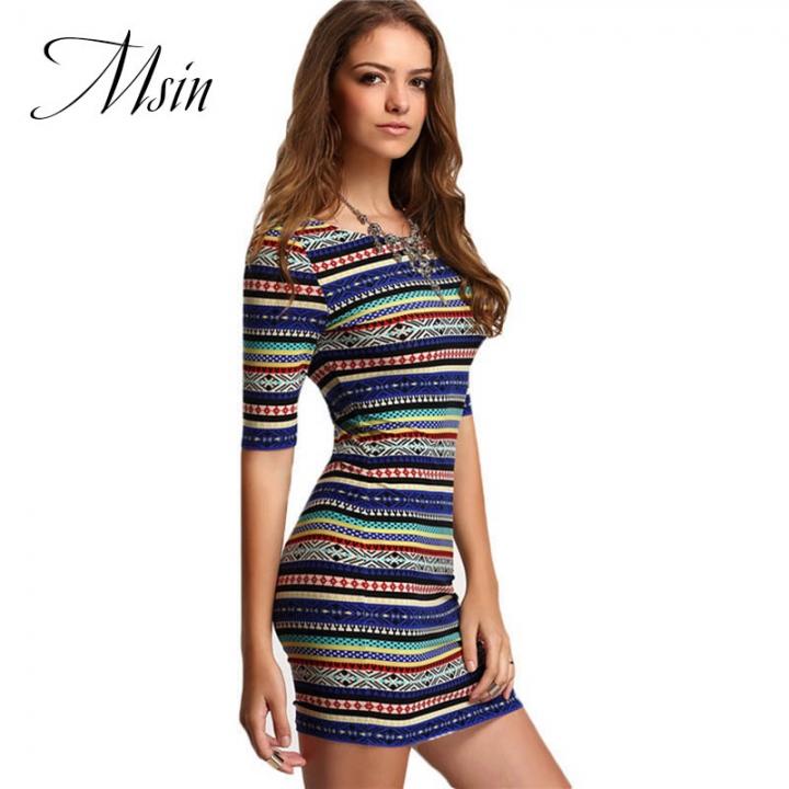 MSIN 2018 New Fashion Women Cotton Pullover Print O-Neck Mini Custom Sexy Sheath Dresses s as picture