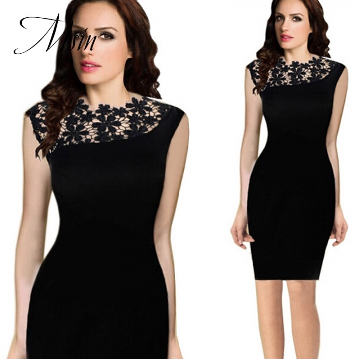 MSIN 2018 New Fashion Women  Lace Zipper Print Patchwork Irregular Collar Sheath party Dresses xxl black