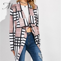MSIN 2018 New Fashion Women Cotton Cardigan Patchwork Grid  Long Clothing Lapel  Irregular Coats grid s