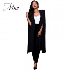 MSIN Winter Clearance Sale Fashion Women Cotton Cloak Pure Long Clothing  Sleeveless Casual Coats white xl