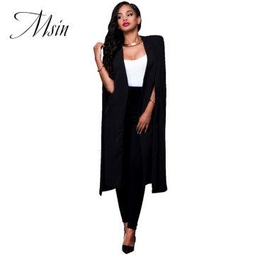 MSIN 2018 New Fashion Women Cotton Cardigan Cloak Pure Long Clothing  Sleeveless Casual Coats black s