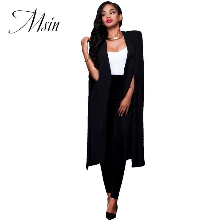 MSIN Winter Clearance Sale Fashion Women Cotton Cloak Pure Long Clothing  Sleeveless Casual Coats black s