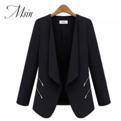 MSIN 2018 New Fashion Women  Zipper Cardigan Patchwork  Shirt sleeves Lapel Medium-length OL Coats black s