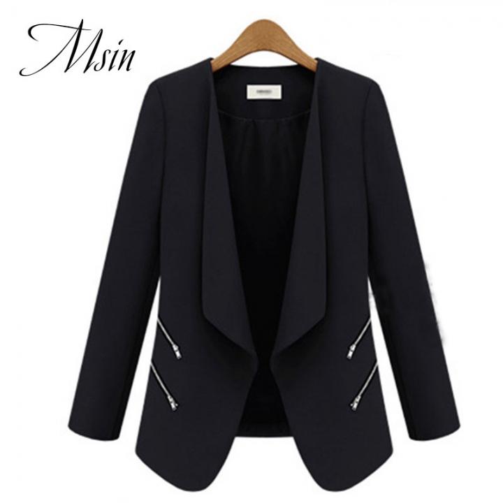 MSIN 2018 New Fashion Women  Zipper Cardigan Patchwork  Shirt sleeves Lapel Medium-length OL Coats black s