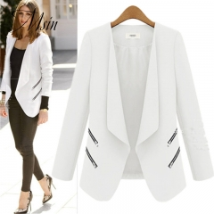 MSIN 2018 New Fashion Women  Zipper Cardigan Patchwork  Shirt sleeves Lapel Medium-length OL Coats white l
