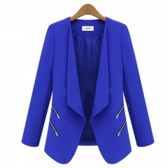 MSIN 2018 New Fashion Women  Zipper Cardigan Patchwork  Shirt sleeves Lapel Medium-length OL Coats blue s