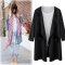 MSIN 2018 New Fashion Women Cotton  Pocket Large Size Pure Casual  Coats black m